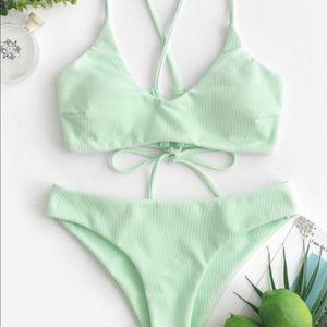 ZAFUL Criss Cross Textured Padded Bikini Swimsuit